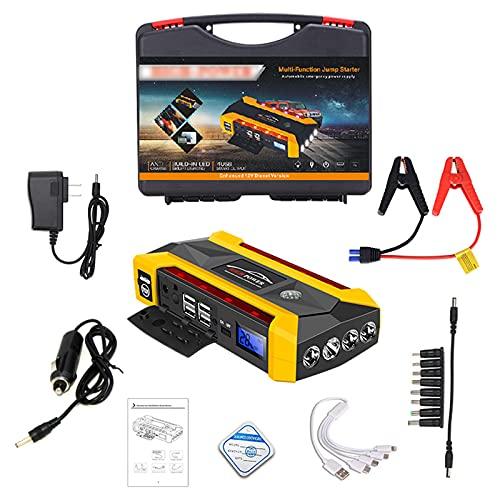 GGMWDSN Arrancador Coche Portatil, Potenciador de BateríA PortáTil de Salida de 500 a Pico de 12 V, Cargador de BateríA Externo de 20000 Mah con Abrazadera, Linterna, Cable de Carga
