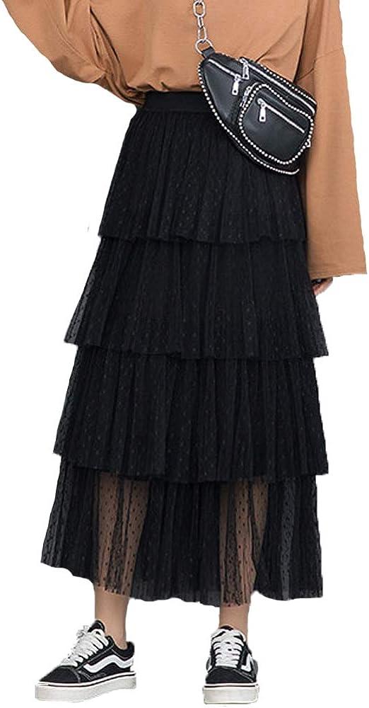 Women's HighElastic Waist Tulle Layered Ruffles Mesh Long Tiered Skirt