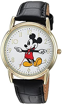 DISNEY Men's Mickey Mouse Analog-Quartz Watch with Leather-Synthetic Strap, Black, 18 (Model: WDS000404) from eWatchFactory
