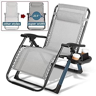 Artist Hand -350LBS Capacity Zero Gravity Heavy Duty Outdoor Folding Lounge Chairs w/Snack Tray,Lawn Patio Reclining Chairs