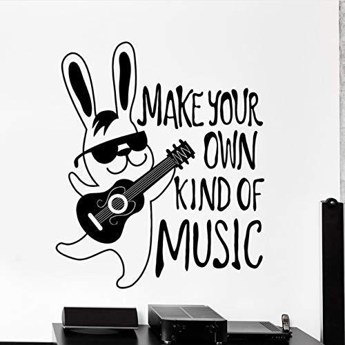 Konijn Gitaar Grappige Citaat Maak Uw Eigen Muziek Vinyl Muursticker Muurstickers Home Decor Art Mural 43x51cm