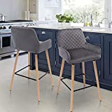 Bar Stool Set of 2 High Stool Chair for Bar Dining Room Bedroom and Living Room, Metal Tripod Mid-Back Backrest Beech Legs, Seat Height 75 Cm, Gray