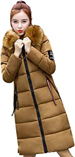 BOZEVON Womens Ladies Winter Coats - Hooded Long Warm Thicker Cotton Fluffy Fur Collar Long Sleeve Casual Outdoor Overcoat Slim Jacket