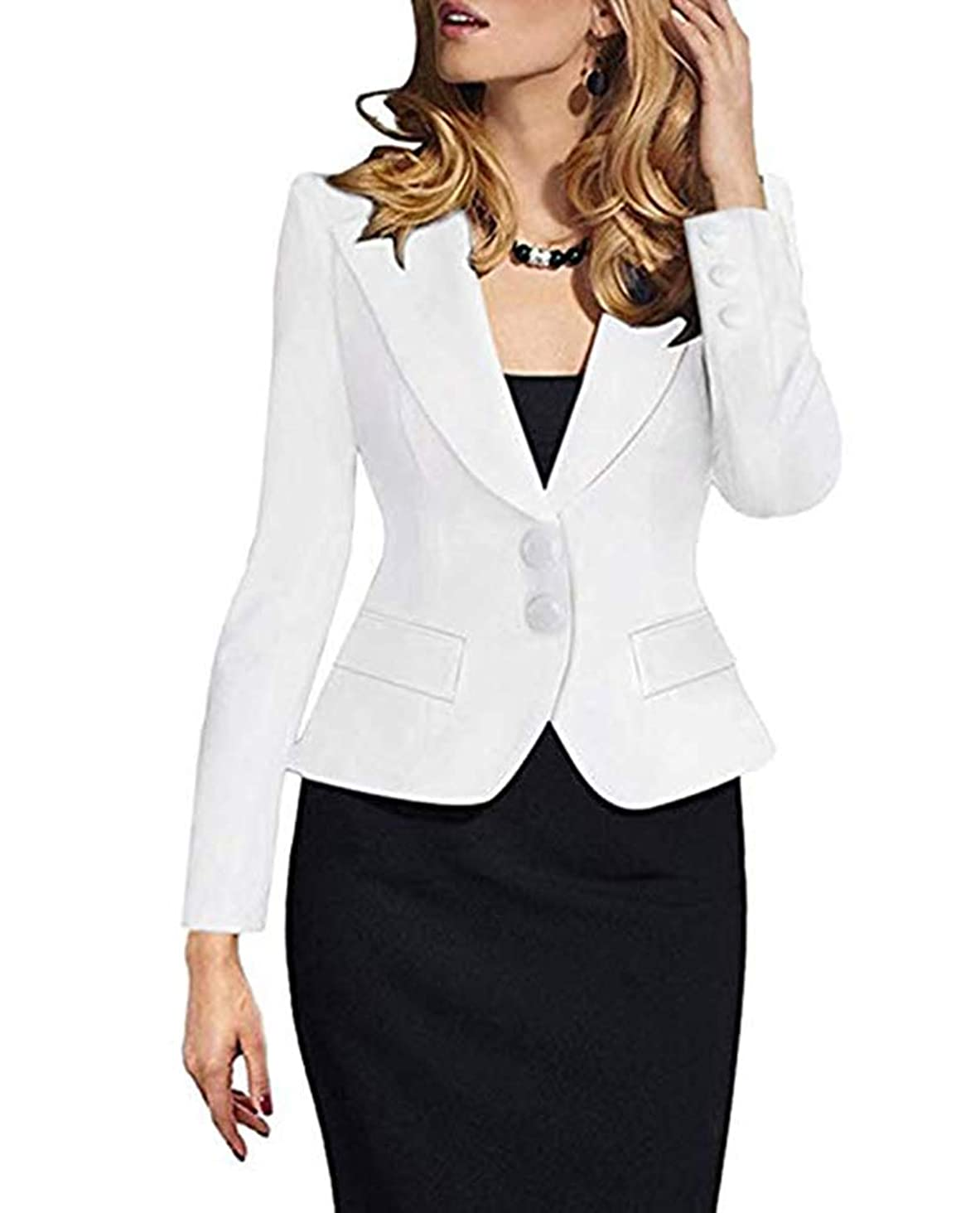 SEBOWEL Women's Formal Two Button Slim Fitted Office Work Blazers Jackets Suits Plus Size S-3X
