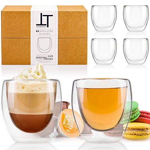 Tempery✮ Doppelwandige Gläser/Latte Macchiato Gläser/Cappuccino Tassen - 250ml - Set aus 6 Doppelwandige Kaffeegläser - Original Teegläser & perfekt Geschenk für Jede Gelegenheit
