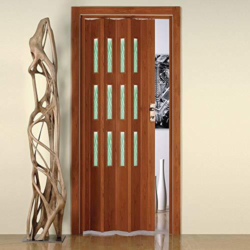 Porta a Soffietto da Interno 88,5x214 cm in PVC con Vetro Saba Jasmine Ciliegio