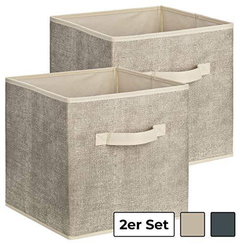 1PLUS Quadratische Aufbewahrungsbox aus Stoff, 30 x 30 x 30 cm Universalbox zur Ordnung und Aufbewahrung im Schrank oder Regal - Aufbewahrungskorb, Box, Ordnungsboxen (Beige/Grau, 2)