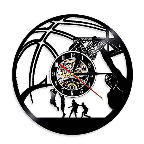 VBLSJ Basketball-Spieler Einhand Jam Clock Vintage Schallplatte Wanduhr Basketball Jump Shot Sport Dekor Mit Led
