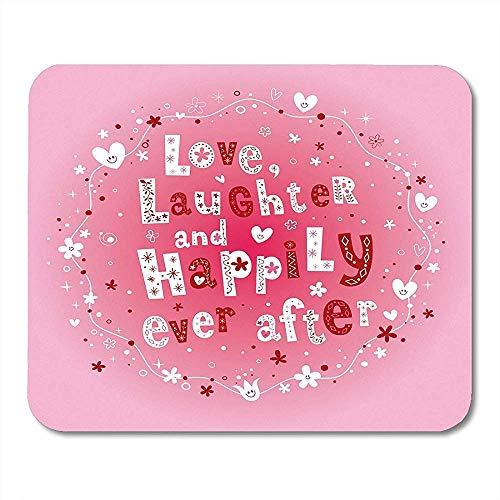 Mousepad roze Designelements liefde lachen en gelukkig ooit na bruiloft evenement slinger muismat 25X30cm