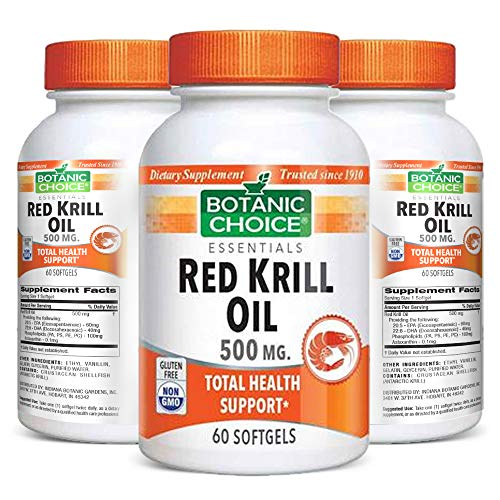 Botanic Choice Red Krill Oil - Adult Daily Supplement - Delivers Beneficial Fatty Acids Supporting Cardiovascular Joint and Brain Function Fights Signs of Aging Promotes Healthy Skin and Vision