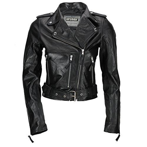 Xposed - Chaqueta corta para mujer, 100% piel suave, ajustada, estilo retro, color negro y rojo