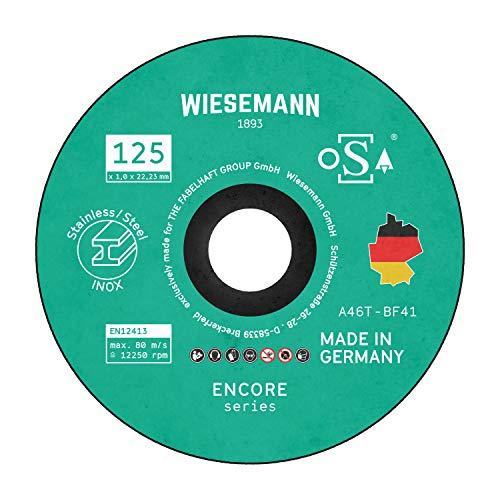 Discos de corte de seguridad 125 x 1,0 mm para metal Paquete de 20 I MADE IN GERMANY I Para amoladora angular de WIESEMANN 1893 I Para acero, acero inoxidable, Inox I OSA tested I 81611