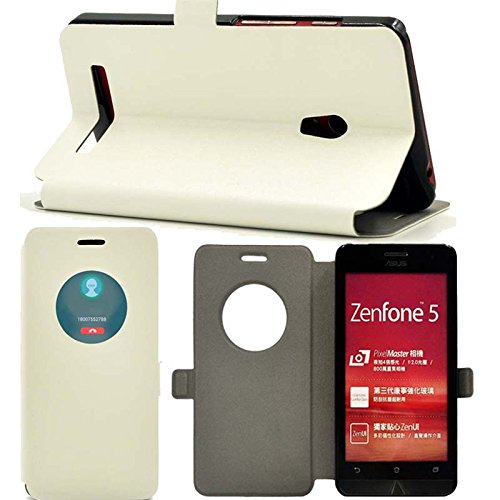 『【ECMAX】 ホワイト ASUS ZenFone 5 A500KL ケース カバー 手帳型 PUレザー素材 自動スリープ スタンド機能付き ECMAX正規代理品』のトップ画像