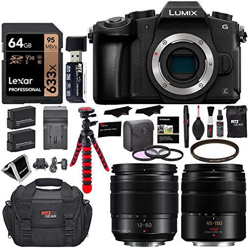 Panasonic LUMIX G85MK 4K Mirrorless Interchangeable Lens Camera Kit, Vario 12-60mm and 45-150mm Lens, Lexar U3 64GB Memory Card, 2 Spare Batteries, Charger, Bag and Accessory Bundle