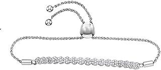 10kt White Gold Womens Round Diamond Flower Cluster Bolo Bracelet 3/4 Cttw Gift for Women