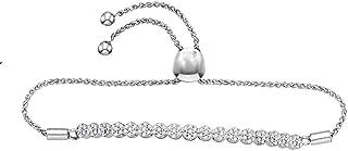 0.75 Carat (ctw) Round White Diamond Ladies Flower Cluster Bolo Bracelet 3/4 CT, 10K White Gold
