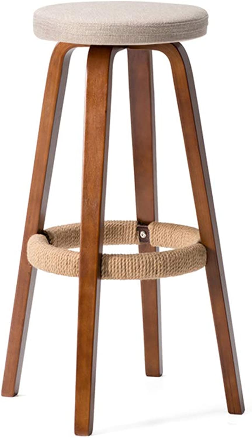 LIQICAI Bar Stool with Brown Footrest Cotton and Linen Seating Extremely Comfy, 4-Leg Structure, 6 colors Optional (color   Beige, Size   45x45x70cm)
