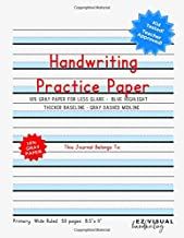 Handwriting Practice Paper: Blue Highlight + Gray Paper Composition Journal Improves Handwriting For Kids | Visual Handwri...