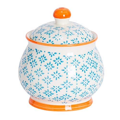 Nicola Spring Bol/Pot à Sucre à Motifs avec Couvercle - Bleu/Orange