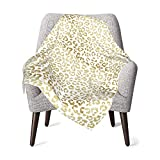 Modern Leopard Pattern Luxury Faux Gold Glitter Baby Blanket Super Soft Printed Blanket Receiving Blanket for Boys Girls, Stroller, Crib, Newborns, Receiving