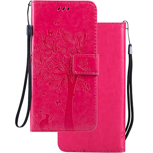 LEMORRY Handyhülle für Microsoft Lumia 640 LTE Hülle Tasche Geprägter Ledertasche Beutel Schutz Magnetisch Schließung SchutzHülle Weich Silikon Cover Schale für Lumia 640 LTE, Glücklicher Baum Pink