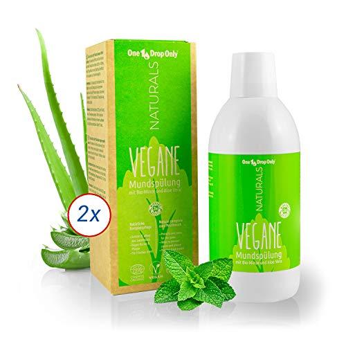 One Drop Only NATURALS Vegane Mundspülung mit Bio-Minze und Aloe Vera - Set mit 2x500ml – Veganes Mundwasser für natürliche Mundhygiene