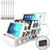 JZBRAIN USB Multi Ladestation für mehrere Geräte mit Schalter Handy und Tablet...