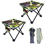 GZPANDA Folding Stool, 2 Pack Portable Chair Folding Camping Stool with Carry Bag for Outdoor Activities Camping Fishing Hiking