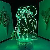Luz noche 3D Lámpara ilusión mesa LED Base lava Sword Art Online Figura anime cumpleaños Decoración dormitorio Mujeres Hombres Manga -16 colores con control remoto