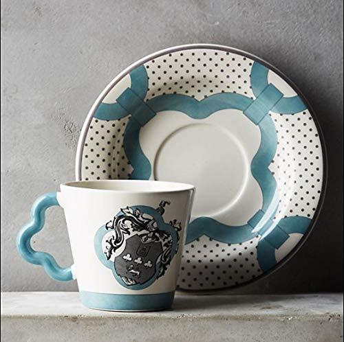 GGsmd Mak Tazza in Ceramica Europea Classica Tazza da caffè Tazza Colazione Coppia Creativa in Porcellana di Osso di Latte, Verde, 401-500 ml