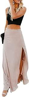 Womens High Waisted Chiffon Flowy Vintage Skirts Side Split Long Maxi Bottom