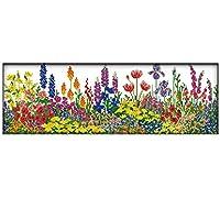 クロスステッチ刺繍キット カラフルな花59x22cm 図柄印刷 初心者 ホームの装飾 贈り物 刺繍糸 針 ホームの装飾(フレームレス)