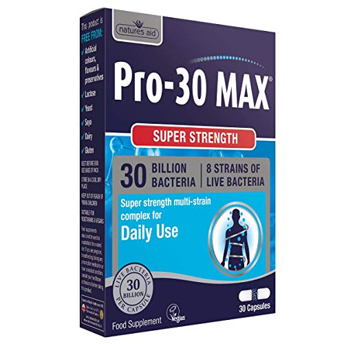 Natures Aid PRO-30 Max (30 Billion Daily Probiotic) - Pack of 30 Vegetarian Capsules