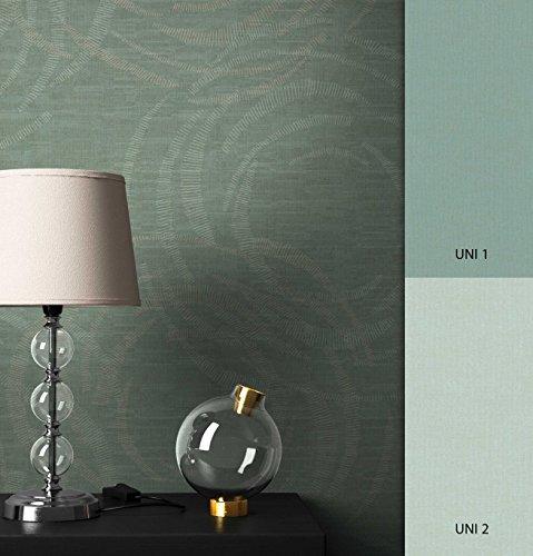NEWROOM Tapete Grün Geometrisch Textil Optik Grafik Vliestapete Vlies moderne Design Optik Grafiktapete Modern inkl. Tapezier Ratgeber