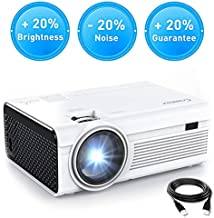 Crosstour Projector, Mini LED Video Projector Home Theater Supporting 1080P 55,000 Hours Lamp Life Compatible with HDMI/USB/SD Card/VGA/AV and Smartphone