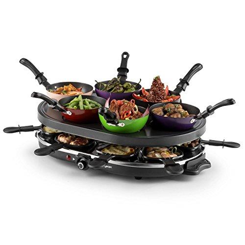 Oneconcept Woklette Raclette Grill - Grill de sobremesa, Barbacoa-Party, 1200 W, Temperatura Regulable, 8 x Mini-sartenes y espátulas de Madera, 6 x Mini -Wok, Antiadherente, Negro