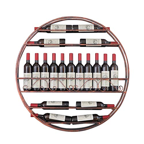 Supporto per Bicchiere Controsoffitto Cucina Espositore da Vino con Retro Tondo da Parete, portabottiglie per Vino Nero/Rosso/Dorato Stile Americano Mensola di Decorazione in Metallo Vintage