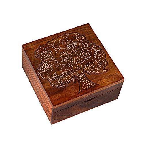 Hashcart, indisches Handwerk, mit der Hand bearbeitetes Holz, Schmuck-Box, Aufbewahrung für Schmuck, Organizer, Berlocke, Schmuck-Box im traditionellen Design und mit Messing-Einlage, holz, STYLE 6