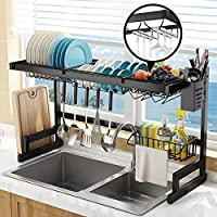 Bamada Over The Sink Adjustable Stainless Steel Dish Drainer Rack