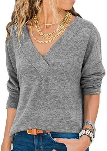 Hiistandd Damen Shirt V-Ausschnitt Tops Casual Langarmshirt Gestrickt Einfarbig Oberteile (Grau, M)