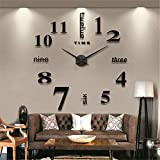 Moderne Mute Grande horloge murale 3d Noir Stickers muraux de cuisine Home...