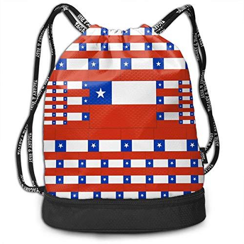 PmseK Mochila con Cordón,Bolsas de Gimnasia, Bolsa de Deporte Chile Flag Cordón Bolsa de Gimnasia para Adolescentes