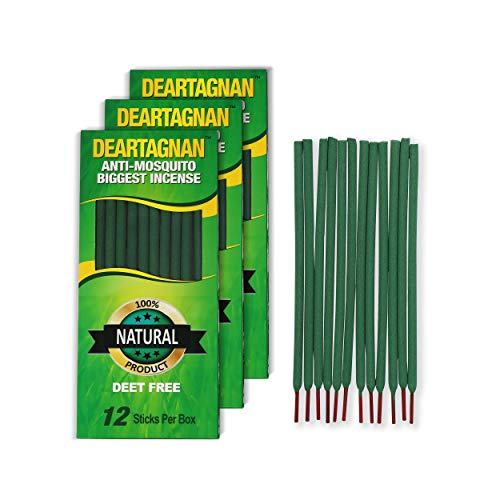Mosquito Repellent Incense Sticks (3) Pack | Plant Based DEET Free Insect Repellent Incense Sticks | Bamboo Infused w/Citronella, Lemongrass & Rosemary | 12 Biggest Sticks per Box (3- Pack)