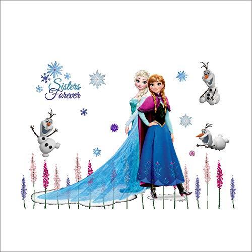 Kibi Wandtattoo Frozen Wandtattoo Eiskönigin (Frozen) Elsa und Anna Wandsticker Frozen Disney für Kinderzimmer Living Room Removable Prinzessin Elsa Anna Wandtattoo Kinderzimmer Frozen Olaf