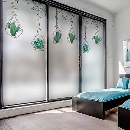 Formato personalizzato Pellicola di vetro Cactus Modello succulento Adesivo per finestra statico Adesivo rimovibile Decorazione domestica Glassato Pellicola decorativa 70 cm x 100 cm