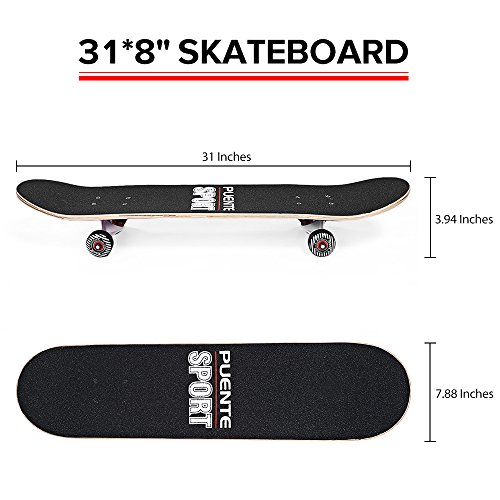 NACATIN Double Kick Deck Skateboard, 8-layer Hard Maple Deck ABEC-9 Bearing PU Wheel for Adults,Youths,Kids,Beginners,400 lb,31x 8 lnches,602