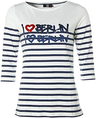 JETTE Damen Langarm Shirt T-Shirt Rundhals I Love Berlin Glitzer Weiß 44