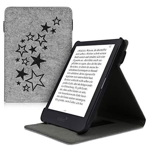 kwmobile Tolino Shine 3 Hülle - Schlaufe Ständer - e-Reader Schutzhülle für Tolino Shine 3 - Sternenmix Design Schwarz Hellgrau