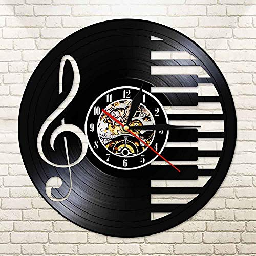 Kindernachtlichteinsatz 3D Vinyl Schallplatte Wanduhr modernes Design Musik Klavier Hinweis Uhr mit 7 verschiedenen Farben LED Änderung Geek Violinschlüssel Symbol schmücken Wohnzimmer hohen Fuß Tisch