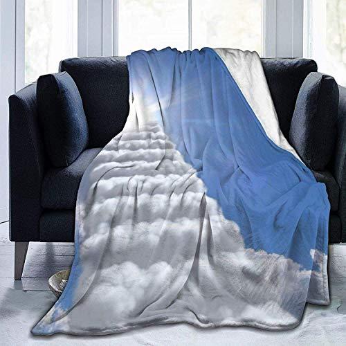 Manta de lana ultra suave con nubes para la escalera al cielo, manta súper suave y acogedora para cama, sofá, sala de estar, playa, picnic, otoño, primavera, invierno, utilidad B